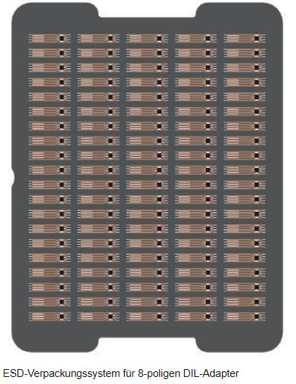 ESD Verpackungssystem für 8-poligen DIL Adapter