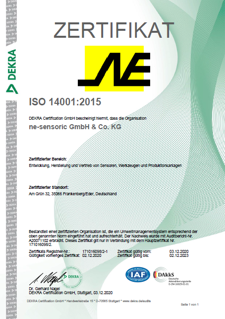 NE Sensoric ISO 14001 Zertifikat