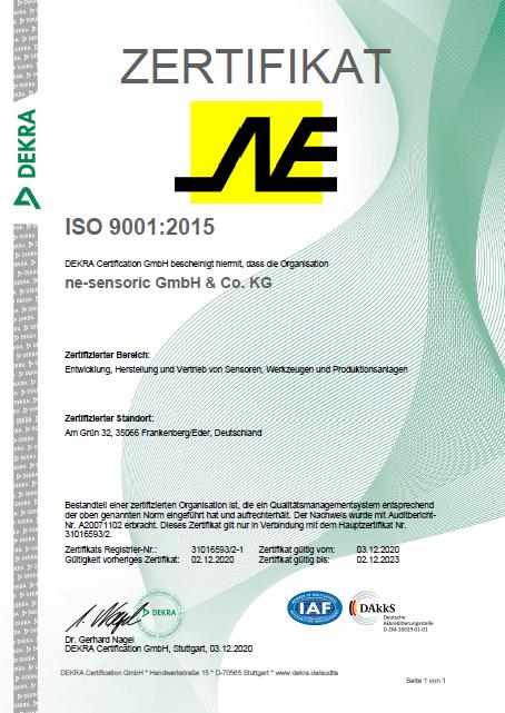ISO 9001 NE Sensoric